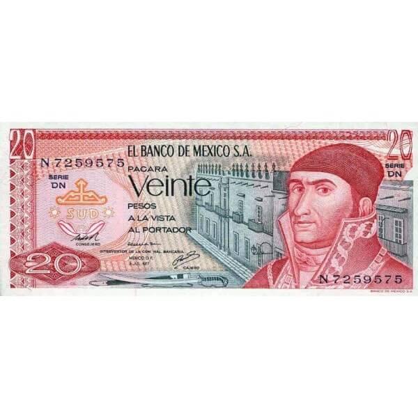 1977 - Mexico P64d 20 Pesos banknote