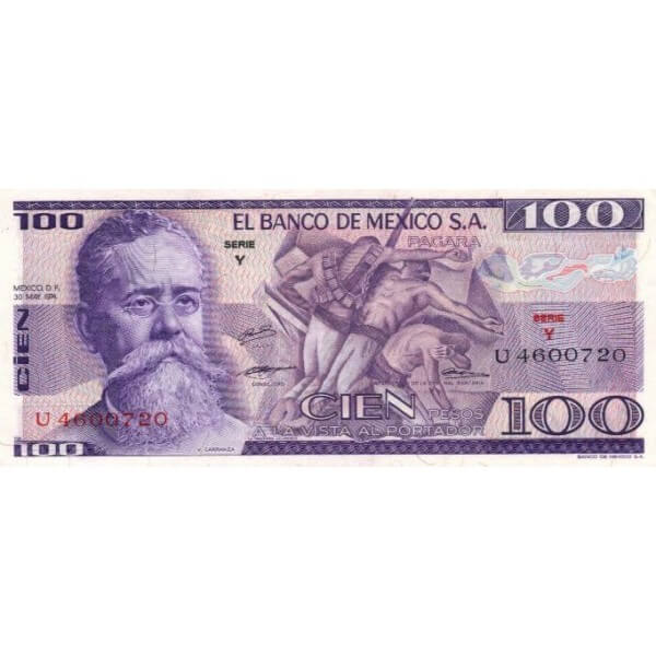 1974 - México P66a billete de 100 Pesos