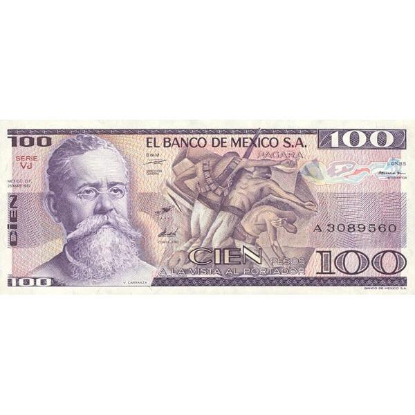 1982 - Mexico P74c 100 Pesos  banknote