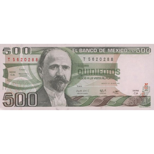 1982 - México P75b billete de 500 Pesos
