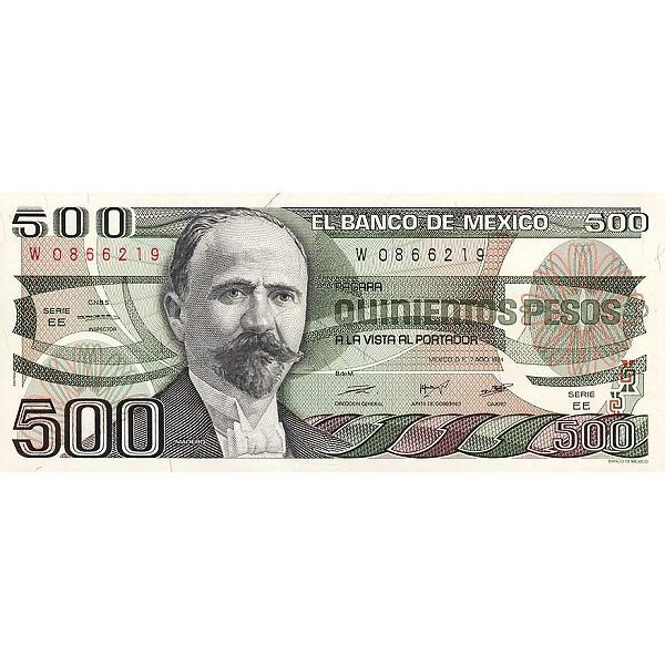 1984 -  México P79b billete de 500 Pesos
