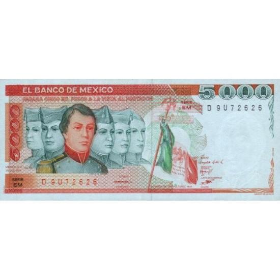 1983 - Mexico P83b 5,000 Pesos banknote