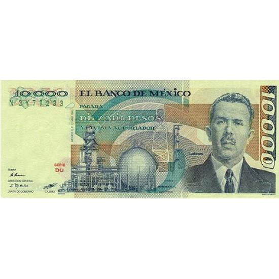 1983 - Mexico P84b 10,000 Pesos banknote