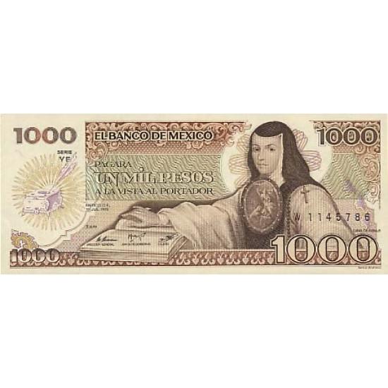 1985 - Mexico P85 1,000 Pesos banknote