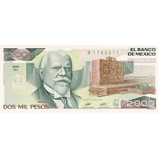 1989 - Mexico P86c 2,000 Pesos banknote