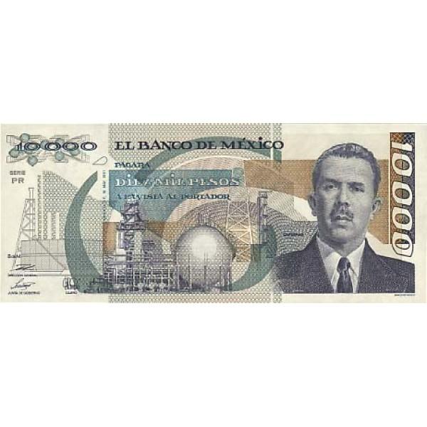 1991 - México P90d 10,000 Pesos VF banknote