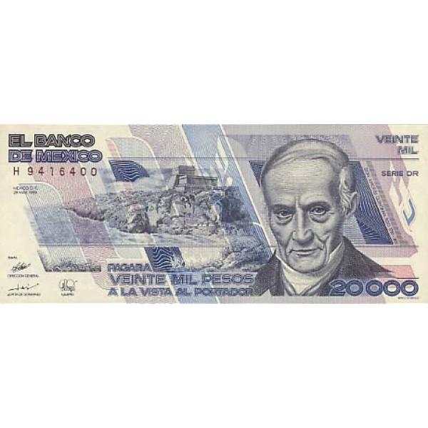 1989 - Mexico P92b 20,000 Pesos banknote