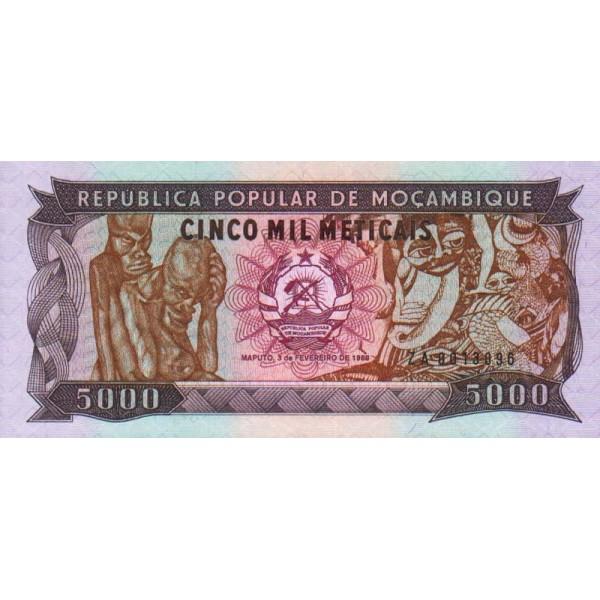 1988 - Mozambique pic 133a billete de 5000 Meticais