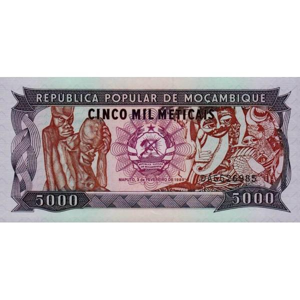 1989 - Mozambique pic 133b billete de 5000 Meticais