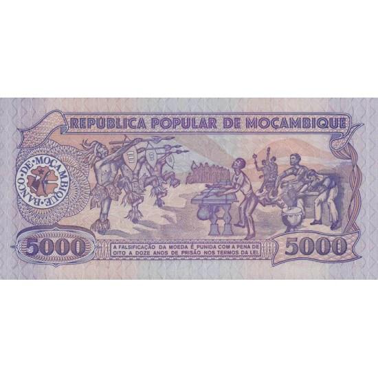 1989 - Mozambique PIC 133b 5000 Meticai banknote