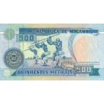1991 - Mozambique pic 134 billete de 500 Meticais