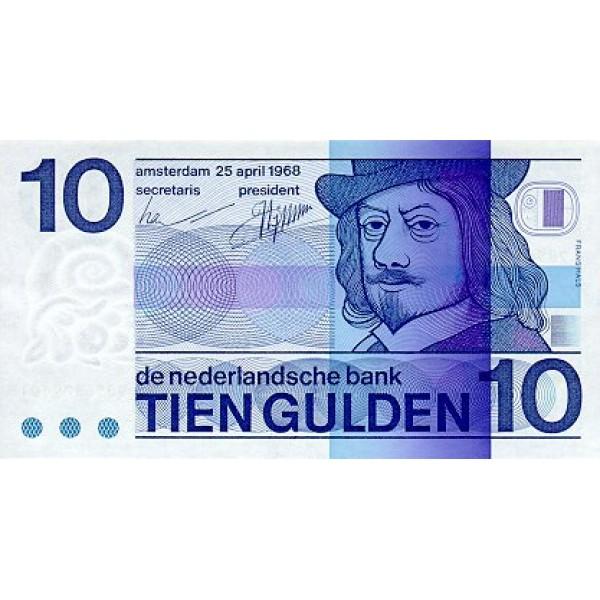 1968 -  Netherlands   Pic 91b         10 Gulden  banknote