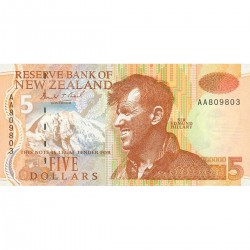 1992 - New Zealand P177a 5 Dollars banknote