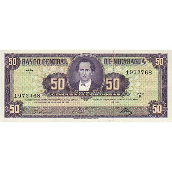 1958 - Nicaragua PIC 119    50 Cordobas banknote