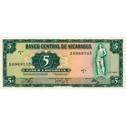 1972 - Nicaragua P122a 5 Cordobas banknote