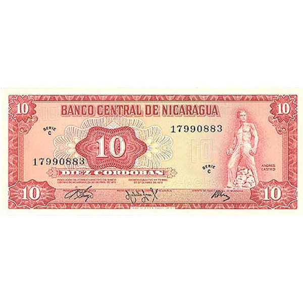1972 - Nicaragua P123a 10 Cordobas banknote