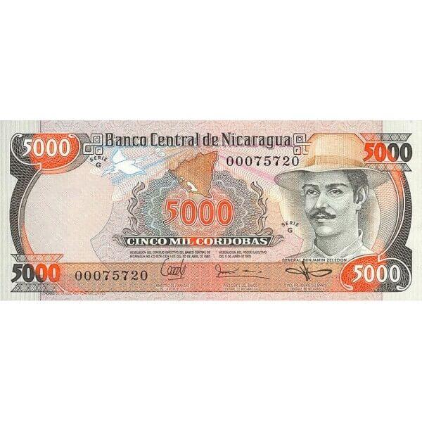 1987 - Nicaragua P146 billete de 5.000 Córdobas