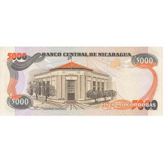 1987 - Nicaragua P146 5,000 Cordobas banknote