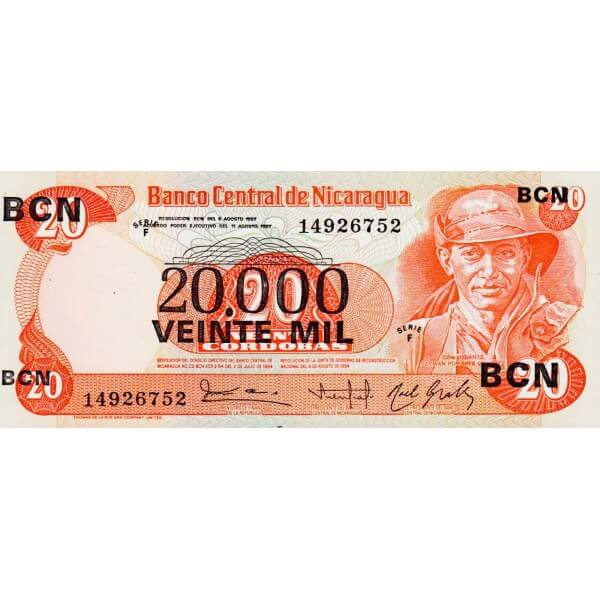 1987 - Nicaragua P147 billete de 20.000 en 20 Córdobas