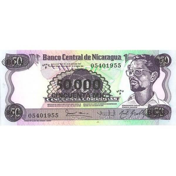 1987 - Nicaragua P148   50.000 en 50 Cordobas banknote