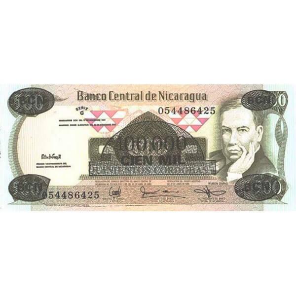 1987 - Nicaragua P149 billete de 100.000 en 500 Córdobas