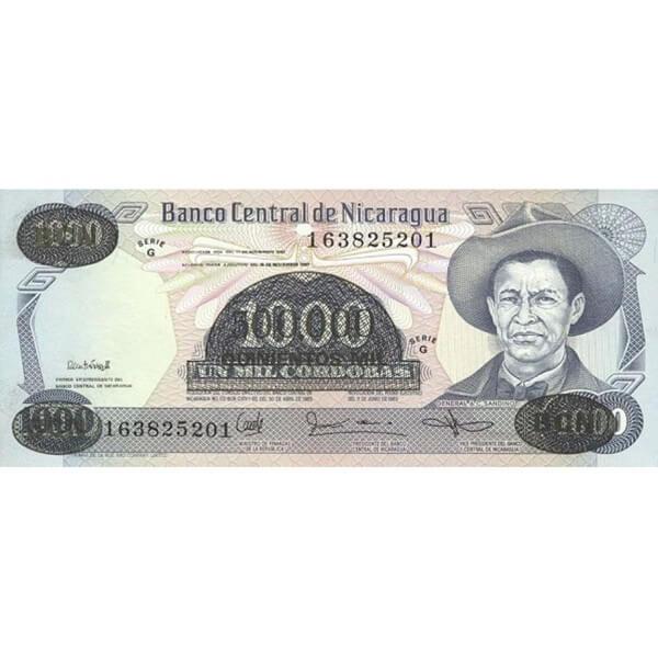 1987 - Nicaragua P150 billete de 500.000 / 1.000 Córdobas