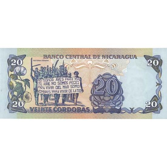 1985 - Nicaragua P152 20 Cordobas banknote