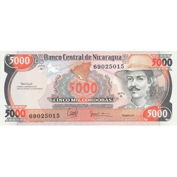 1988 - Nicaragua P157 billete de 5.000 Córdobas