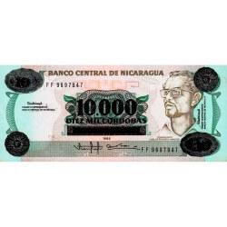 1989 - Nicaragua P158 billete de 10.000 Córdobas en 10 Córdobas