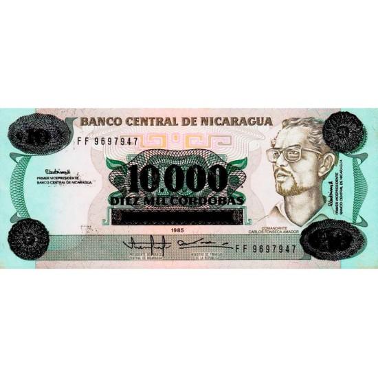 1989 - Nicaragua P158 10,000 in 10 Cordobas banknote