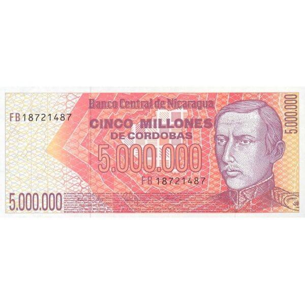 1990 - Nicaragua P165 billete de 5.000.000 Córdobas