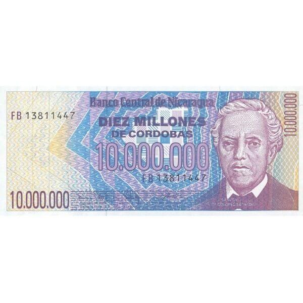 1990 - Nicaragua P166 billete de 10.000.000 Córdobas