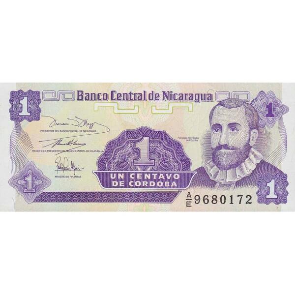 1991 - Nicaragua P167 billete de 1 Centavo de Córdoba