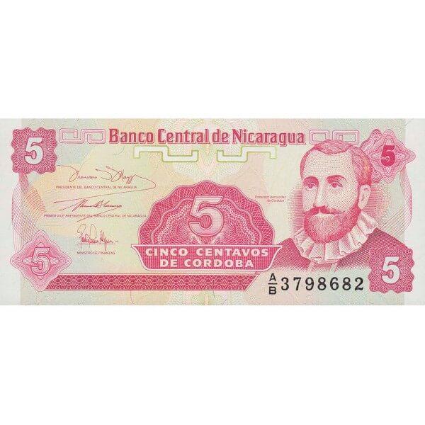 1991 - Nicaragua P168a billete de 5 Centavos de Córdoba