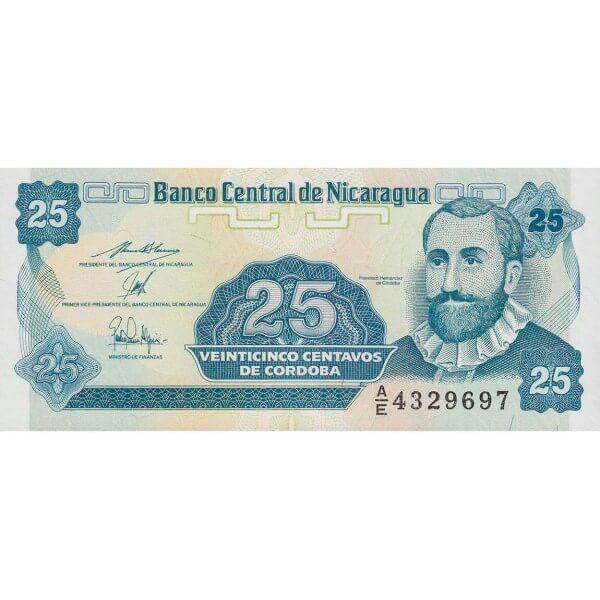 1991 - Nicaragua P170a 25 Centavos de Cordoba banknote
