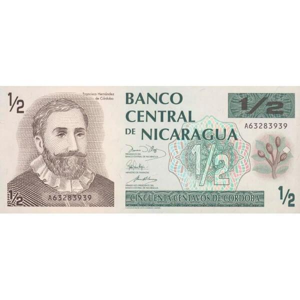 1991 - Nicaragua P171 billete de 1/2 Córdoba