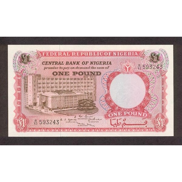 1967 - Nigeria pic 8 billete de 1 Libra