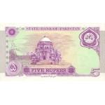 1997 - Paquistan pic 44  billete de 5 Rupias