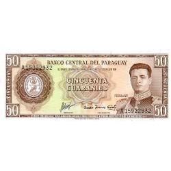 1952 - Paraguay P197b 50 Guaranies banknote