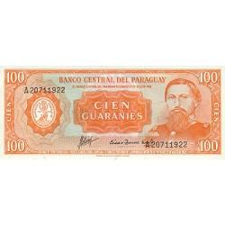 1952 - Paraguay P199b 100 Guaranies banknote
