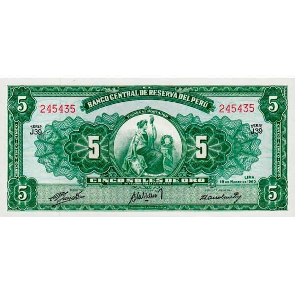 1960 - Perú P76a billete de 5 Soles Oro