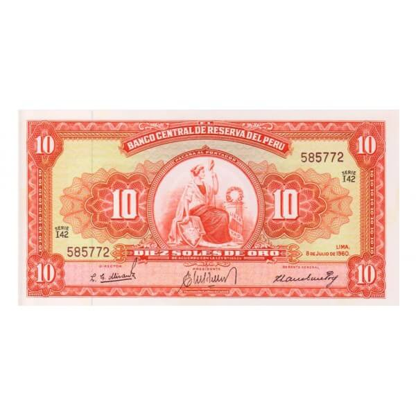1960 - Perú P82Aa billete de 10 Soles Oro