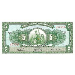 1965 - Peru PIC 83               5 Soles Gold banknote