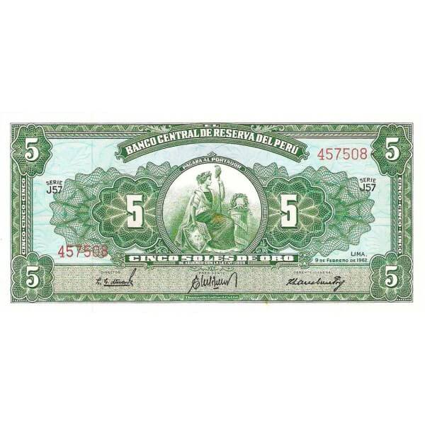 1968 - Perú P83a billete de 5 Soles Oro