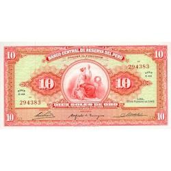 1963 - Peru PIC 84               10 Soles Gold banknote