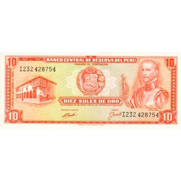 1971 - Perú P100b billete de 10 Soles Oro