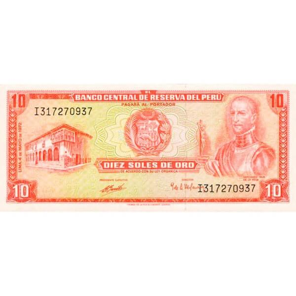 1973 - Peru P100c 10 Soles Oro banknote