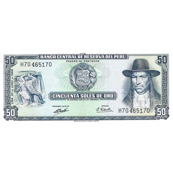 1973 - Perú P101b billete de 50 Soles Oro