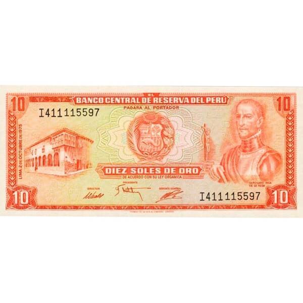 1975 - Peru P106 10 Soles Oro banknote