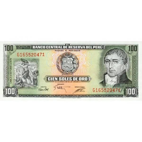 1975 - Perú P108 billete de 100 Soles Oro